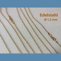 Edelstahl KUGELKETTE / ROLO-KETTE, goldfarben, verschiedene Längen, mit Karabinerverschluss, Durchm. 1,5 mm Bild 1