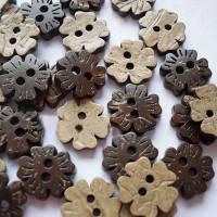 20 Kokos-Knöpfe 11 mm Blumen braun Bild 1