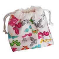 kleine Stofftasche mit Schmetterlingen, Geschenkbeutel, nachhaltig Bild 1