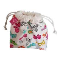 kleine Stofftasche mit Schmetterlingen, Geschenkbeutel, nachhaltig Bild 4