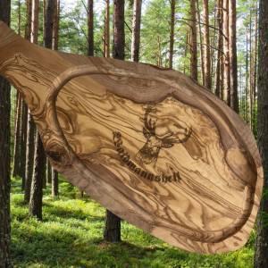 Tranchierbrett aus Olivenholz mit Saftrille & Handgriff inkl. Gravur WAIDMANNSHEIL –ein Geschenk für Jäger und Jagdfreun Bild 1