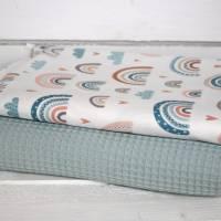 Stoffpaket Baumwolle Regenbogen bunt + Waffelpique mint Bild 1