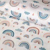 Stoffpaket Baumwolle Regenbogen bunt + Waffelpique mint Bild 2
