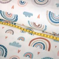Stoffpaket Baumwolle Regenbogen bunt + Waffelpique mint Bild 3