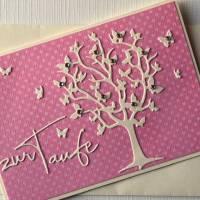 Glückwunschkarte Taufe , Karte Konfirmation, Kommunion, Lebensbaum, Schmetterlinge Bild 4