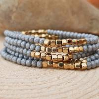 Armband Perlen Glas grau gold geschliffen Perlenarmband elastisch OneSize Freundschaftsarmband Sommer Muttertag Bild 1