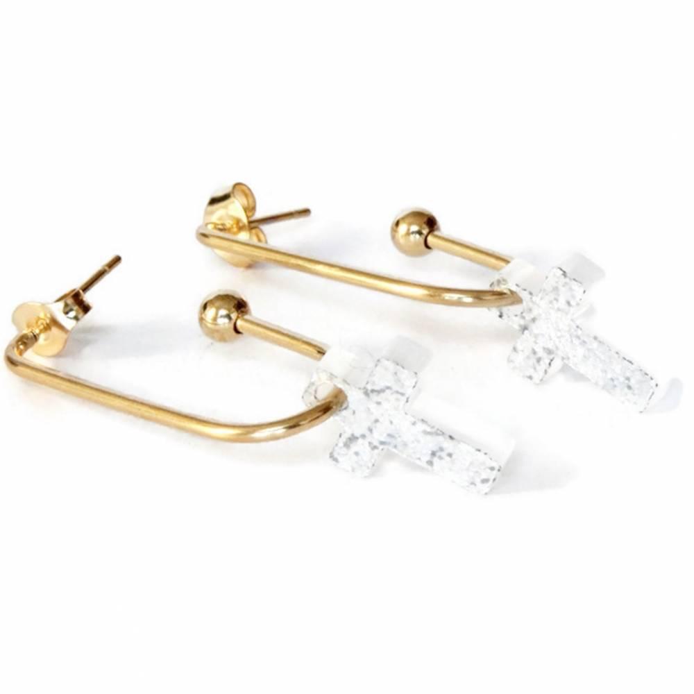 Ohrringe Edelstahl Gold Kreuz Glitter Ohrschmuck Ohrhänger Konfirmation Kommunion Bild 1