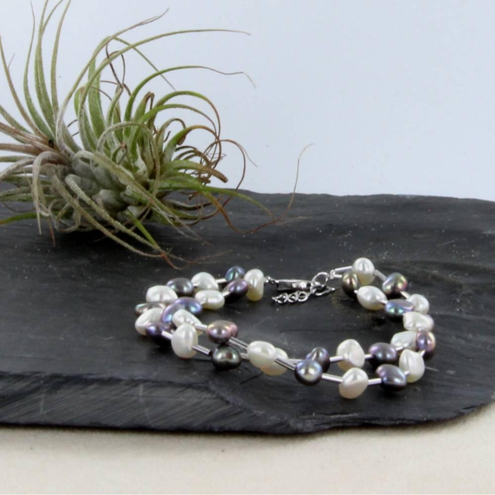 echtes Perlenarmband zwei-reihig  Silber Perle rhodiniert 19 + 2 cm Bild 1