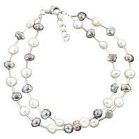 echtes Perlenarmband zwei-reihig  Silber Perle rhodiniert 19 + 2 cm Bild 2