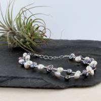 echtes Perlenarmband zwei-reihig  Silber Perle rhodiniert 19 + 2 cm Bild 4