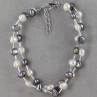 echtes Perlenarmband zwei-reihig  Silber Perle rhodiniert 19 + 2 cm Bild 5