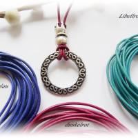 Lange Lederkette mit Seestern,Großlochperle - Lederband aus 4 Farben wählbar - Wechselkette für Schmuckanhänger Bild 8