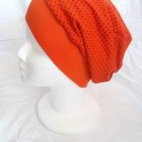 Beanie Mütze KU 53-55 orange mit Punkten in schwarz und Sternen in pink Bild 1