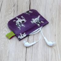 Mini-Täschchen aus Wachstuch mit Schnappverschluss, Kopfhörertäschchen, Tampontäschchen, Bulldoggen Bild 1