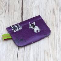 Mini-Täschchen aus Wachstuch mit Schnappverschluss, Kopfhörertäschchen, Tampontäschchen, Bulldoggen Bild 2