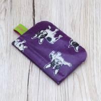 Mini-Täschchen aus Wachstuch mit Schnappverschluss, Kopfhörertäschchen, Tampontäschchen, Bulldoggen Bild 4