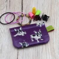 Mini-Täschchen aus Wachstuch mit Schnappverschluss, Kopfhörertäschchen, Tampontäschchen, Bulldoggen Bild 5