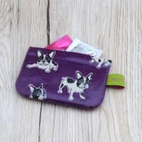 Mini-Täschchen aus Wachstuch mit Schnappverschluss, Kopfhörertäschchen, Tampontäschchen, Bulldoggen Bild 6