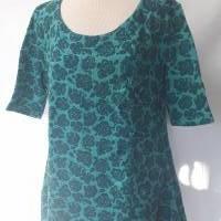 Damenoberteil, Kleid aus hochwertigem Biobaumwoll-Jaquardstoff, glockiger Schnitt, Gr. L-XL, türkis mit Rosenmuster Bild 1