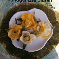 gelbe Rosenbüten Handgefilzt 4- Set Bild 1