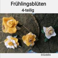 gelbe Rosenbüten Handgefilzt 4- Set Bild 2