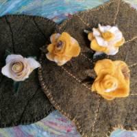 gelbe Rosenbüten Handgefilzt 4- Set Bild 4