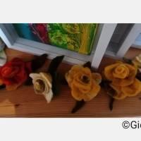 gelbe Rosenbüten Handgefilzt 4- Set Bild 6