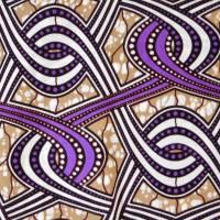 Wachsdruck-Stoff - 50cm/Einheit - lila, beige - afrikanischer Baumwollstoff - Wachsbatik Bild 1