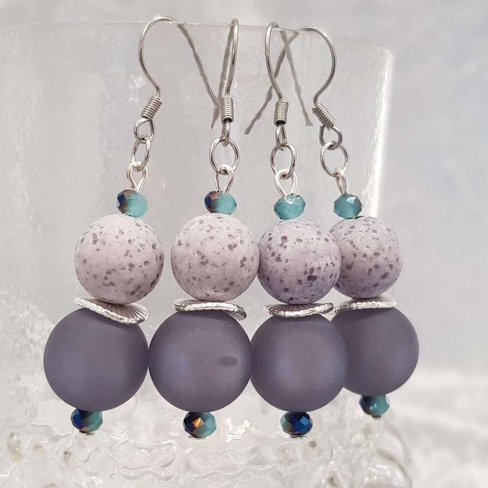 """Ohrringe """"Marina"""", blau/grau, Edelstahl Bild 1"""