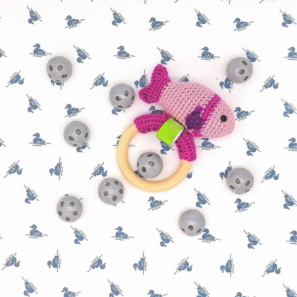 Rasselkugel Rasselball 24mm, zum Einnähen in Kuscheltiere, Rasseln, Puppen oder Tierspielzeug, Grau Bild 1