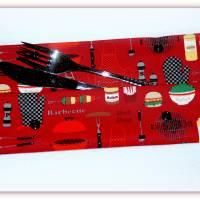 Bestecktasche Barbecue aus Stoff mit Druckknopfverschluss, Besteck to go Bild 3