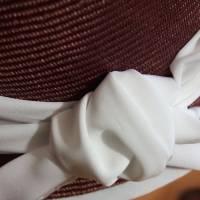 Strohhut Cloche Braun-Weiß Bild 7