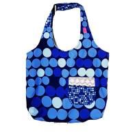 blaue Stofftasche mit Punkten und Außentasche, Unikat Bild 1