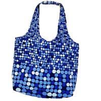 blaue Stofftasche mit Punkten und Außentasche, Unikat Bild 2