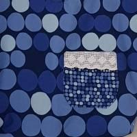 blaue Stofftasche mit Punkten und Außentasche, Unikat Bild 4