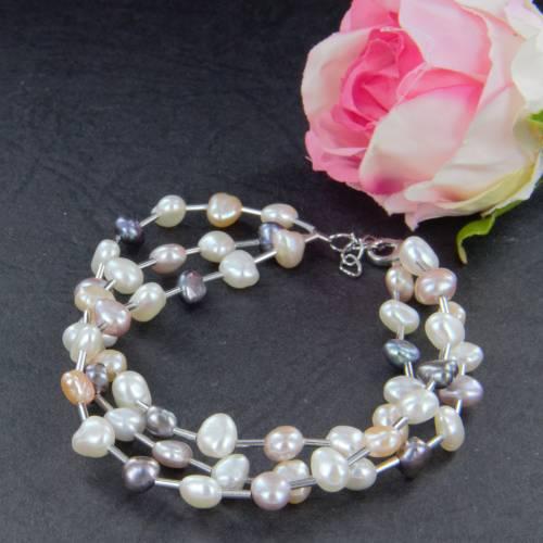 echtes Perlenarmband drei-reihig Silber Perle rhodiniert 19 + 2 cm