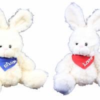 Kuscheltier Hase weiss 30cm mit Namen am Halstuch - Personalisierte Schmusetiere für Jungen und Mädchen Osterhase Bild 1