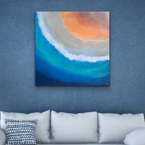 Abstrakte Malerei Acryl, maritime Wanddeko, 80x80 cm Leinwand, Originalgemälde, Acrylbild auf Leinwand, maritime Kunst,  Bild 1
