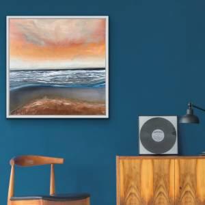 Acrylbild auf Leinwand, maritime Kunst, 80x80 cm Leinwand, abstrakte Malerei Acryl, Originalgemälde, maritime Wanddeko,  Bild 1