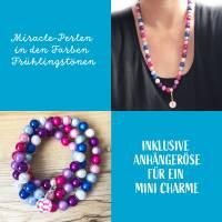 Perlenkette in Frühlingsfarben inklusive 1x Mini Charme gratis Bild 2