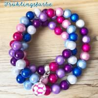 Perlenkette in Frühlingsfarben inklusive 1x Mini Charme gratis Bild 3