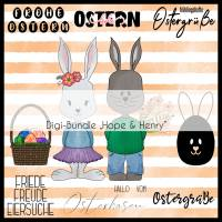 "Digistamp Set ""Hope & Henry"" Osterhasen inkl. Digipapier Bild 1"