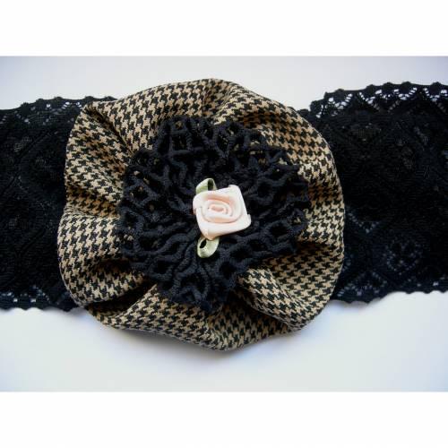 Haarband Blüte Spitze schwarz mit beige, vintage rockabilly