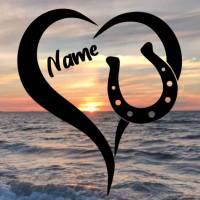 Aufkleber Herz mit Hufeisen und Name Bild 1