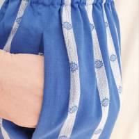 """Rock """"Mare"""" mit Paper Bag Bund in Gr. S / Azurblau mit weißen Webstreifen / Gerade in Midilänge / Nahttaschen / Unikat Bild 4"""