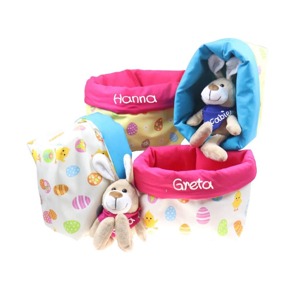 Ostergeschenk Osterkörbchen mit Hasen personalisiert Stoffkörbchen - Geschenk zu Ostern für Kinder  Bild 1