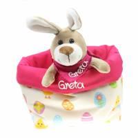 Ostergeschenk Osterkörbchen mit Hasen personalisiert Stoffkörbchen - Geschenk zu Ostern für Kinder  Bild 2