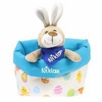 Ostergeschenk Osterkörbchen mit Hasen personalisiert Stoffkörbchen - Geschenk zu Ostern für Kinder  Bild 3