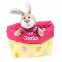 Ostergeschenk Osterkörbchen mit Hasen personalisiert Stoffkörbchen - Geschenk zu Ostern für Kinder  Bild 4
