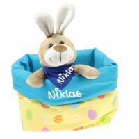 Ostergeschenk Osterkörbchen mit Hasen personalisiert Stoffkörbchen - Geschenk zu Ostern für Kinder  Bild 5